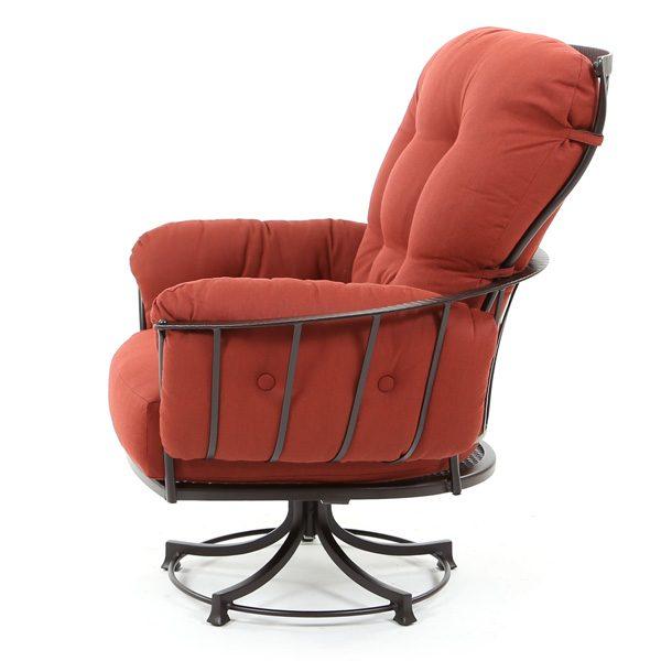 Monterra wrought iron swivel rocker club chair side view