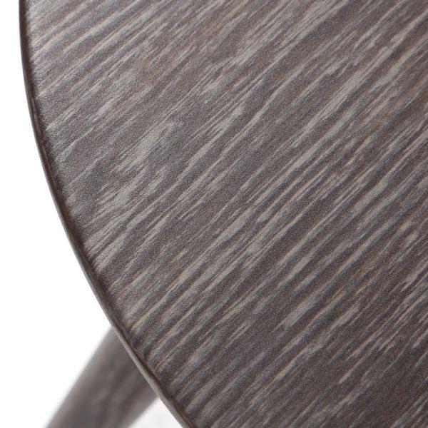 Ebel Nola aluminum end table with a smoke woodgrain finish