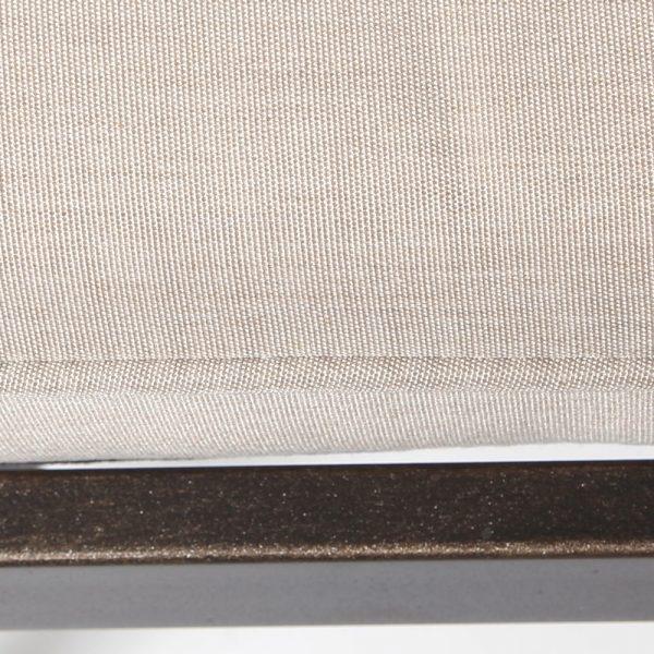 Oak Grove dining bench with a Sunbrella Canvas Flax cushion