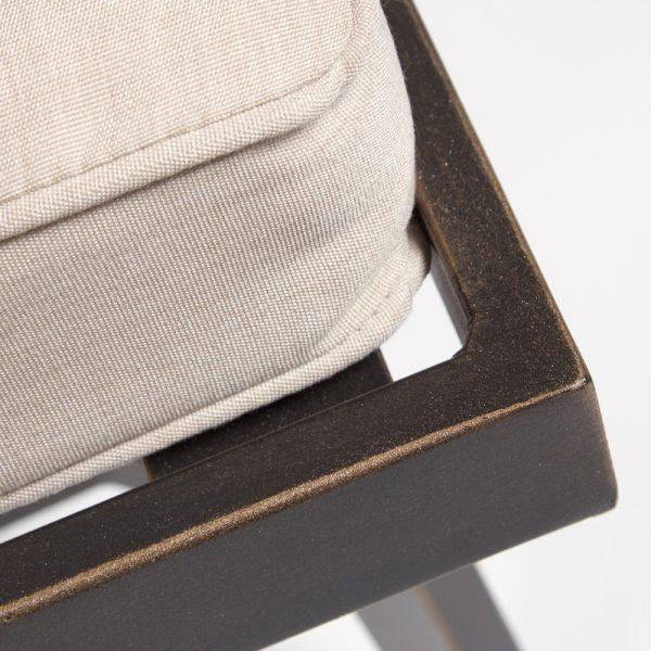 Oak Grove aluminum dining bench frame detail