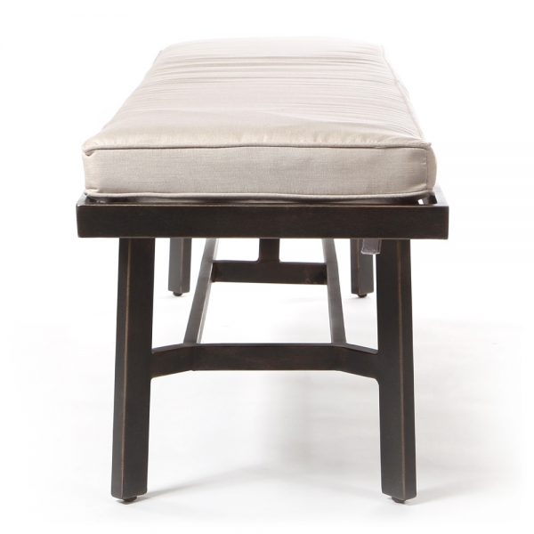 Agio Oak Grove dining bench with cushion side view