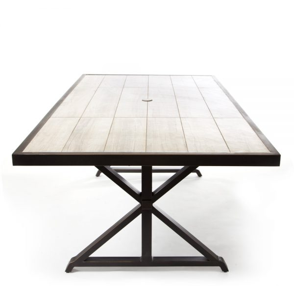 Oak Grove outdoor dining table side view