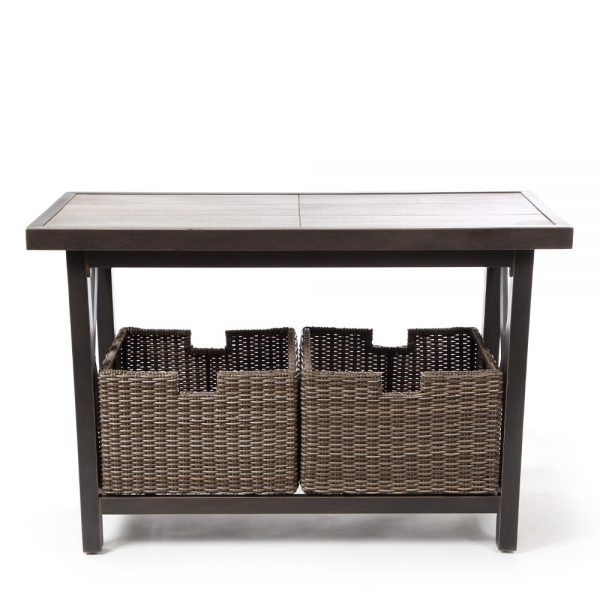 Oak Grove aluminum sofa table with baskets front view