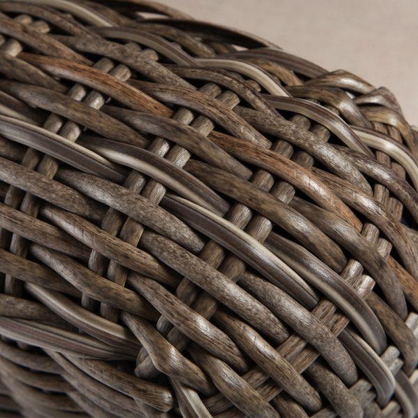Oak Grove wicker swivel lounge chair with a Driftwood weave