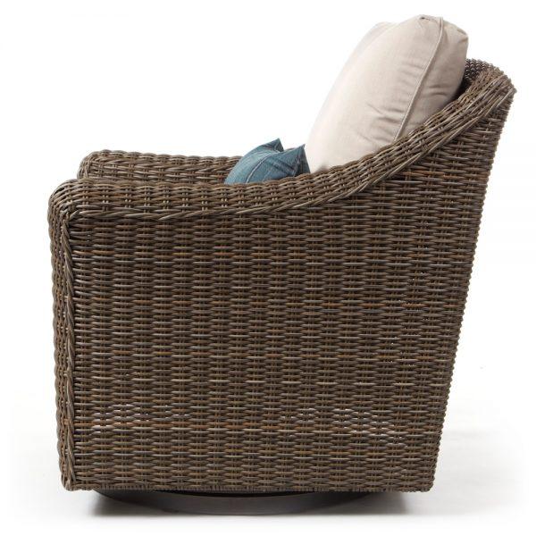 Oak Grove wicker swivel glider lounge chair side view