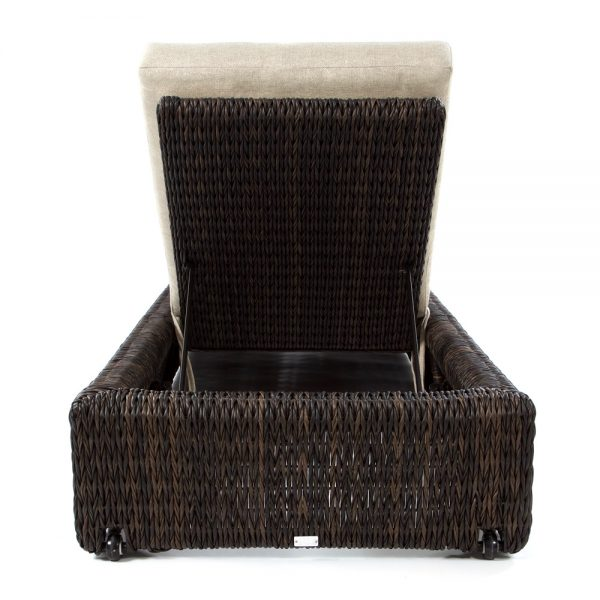 Orsay wicker patio chaise lounge back view