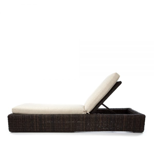 Orsay espresso wicker chaise lounge side view