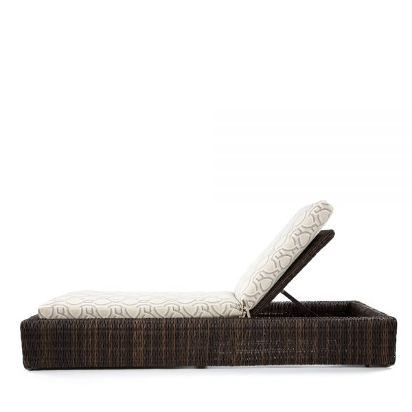 Ebel wicker patio chaise lounge side view