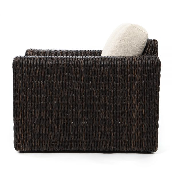 Orsay espresso wicker club chair side view