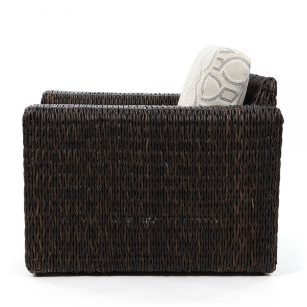 Orsay espresso wicker lounge chair side view