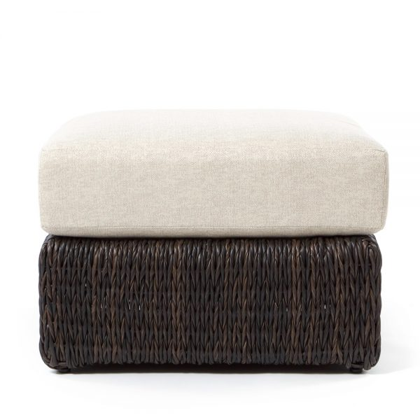 Ebel Orsay outdoor wicker ottoman front view