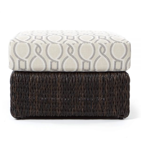 Ebel Orsay wicker ottoman front view