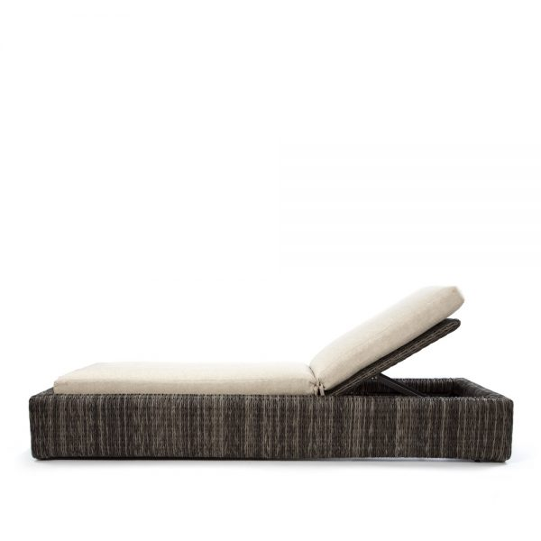 Orsay smoke wicker chaise lounge side view