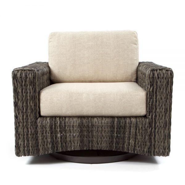 Ebel Orsay wicker patio swivel rocker club chair front view