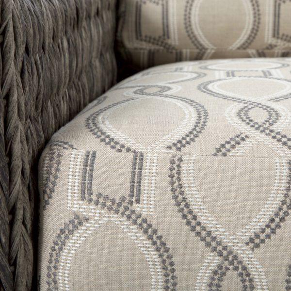 Ebel Orsay swivel lounge chair with Sunbrella Twist Smoke cushions