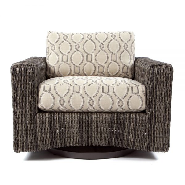 Ebel Orsay wicker patio swivel glider club chair front view