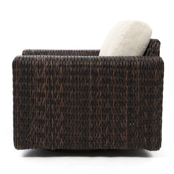 Orsay espresso wicker swivel rocker club chair side view