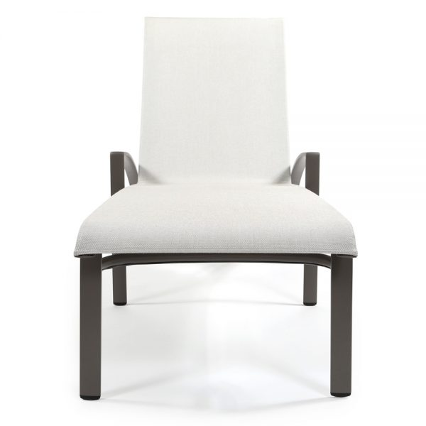 Brown Jordan Pasadena sling aluminum chaise lounge front view