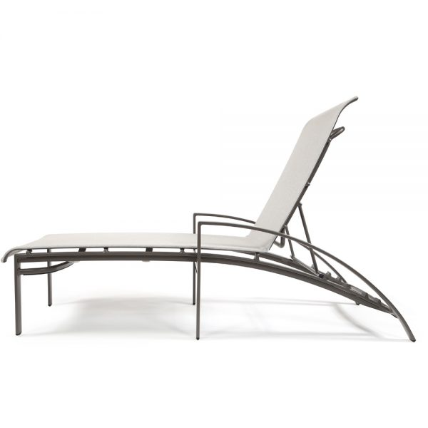Pasadena sling patio chaise lounge side view