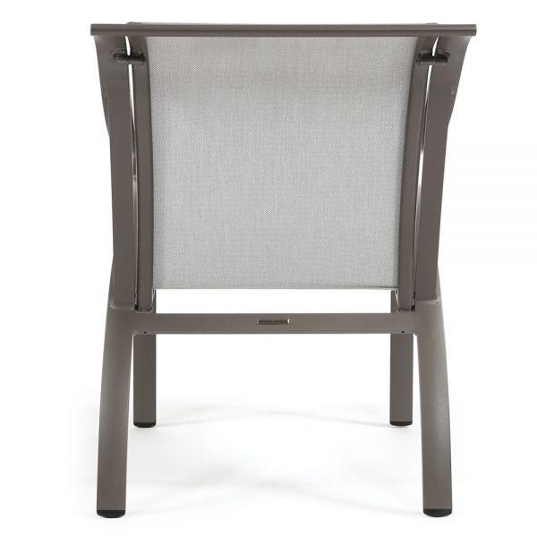 Pasadena sling outdoor aluminum dining chair back view