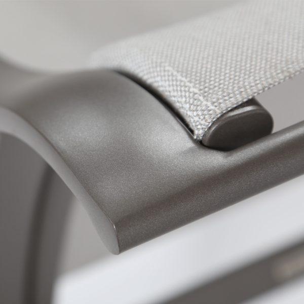 Brown Jordan Pasadena sling aluminum dining chair with a Mica powder coat finish