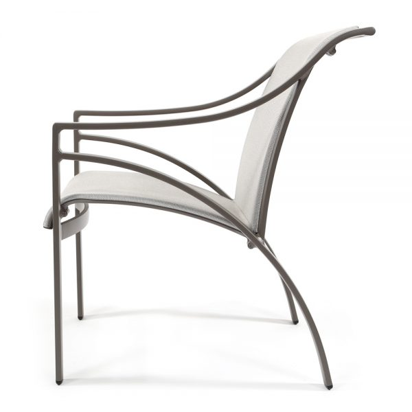 Pasadena sling aluminum patio dining chair side view