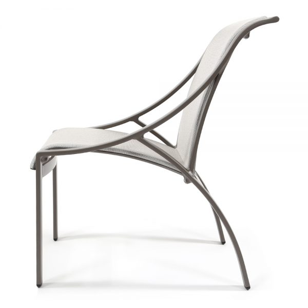 Pasadena sling aluminum dining side chair side view