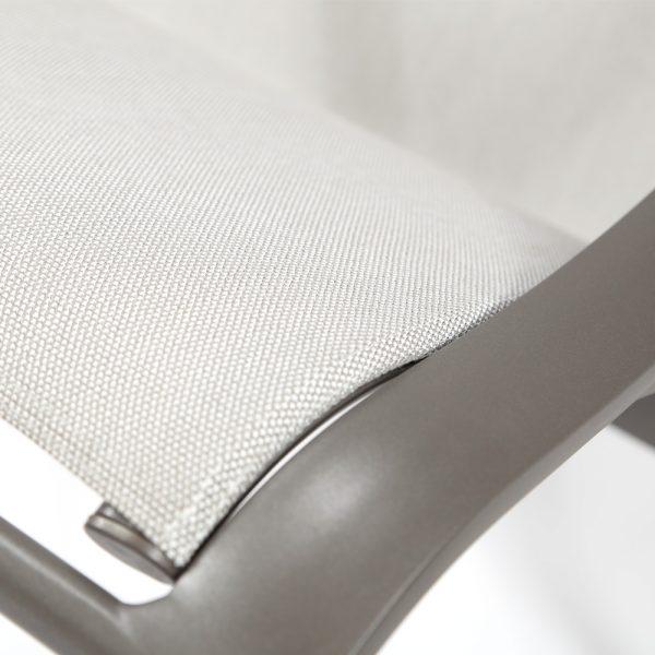 Brown Jordan Pasadena sling lounge chair with Sunbrella Sailing fabric