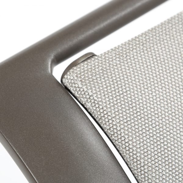 Brown Jordan Pasadena sling aluminum lounge chair with a Mica powder coat finish