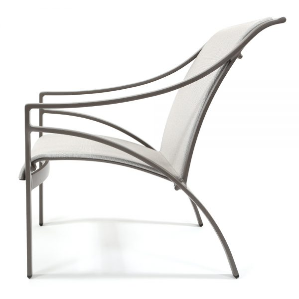 Pasadena sling aluminum outdoor lounge chair side view