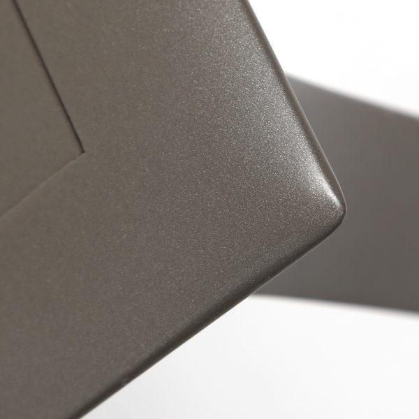 Brown Jordan Pasadena sling aluminum dining table with a Mica powder coat finish