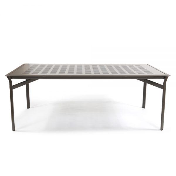 Pasadena sling aluminum patio dining table front view