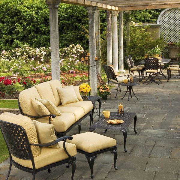 Provance cast aluminum patio furniture with coffee table