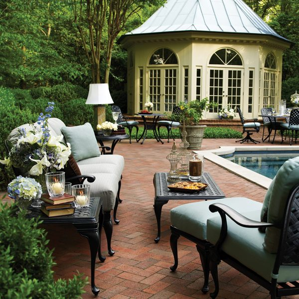 Provance cast aluminum outdoor furniture with cushions