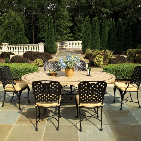 Provance cast aluminum patio dining set with side chairs