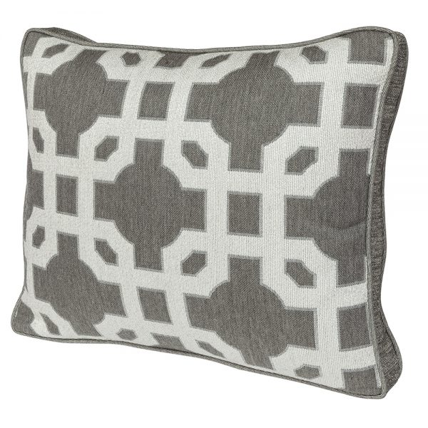 Boxed accent pillow with decorative trim - Fortune Char fabric with Flagship Pewter trim fabric