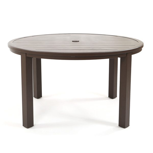 "Sunvilla Riva outdoor 54"" round slat top dining table front view"