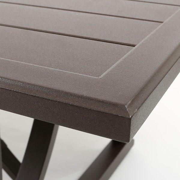 Sunvilla Riva aluminum rectangle dining table with Chestnut powder coat finish