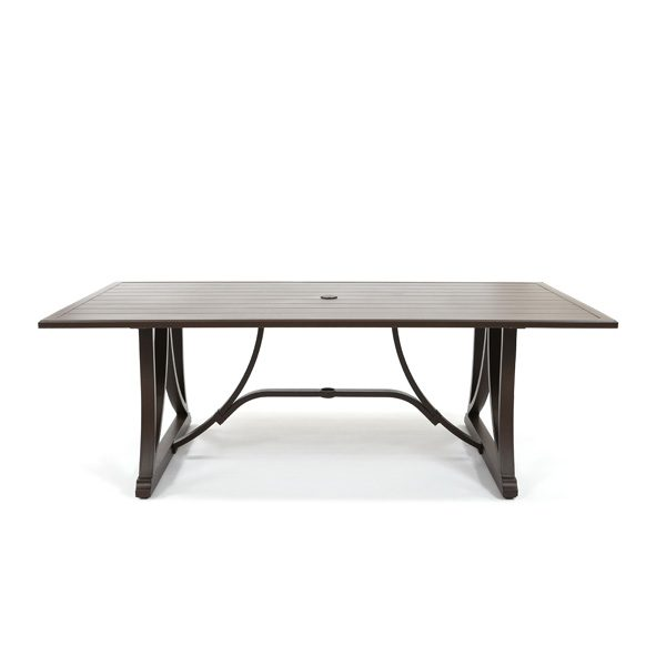 Sunvilla Riva aluminum rectangle slat top dining table front view