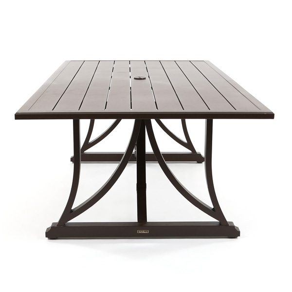 Riva patio slat top dining table side view