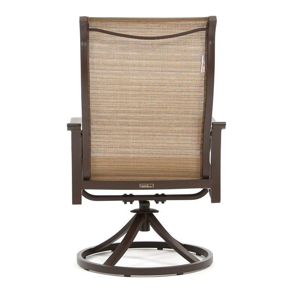 Riva patio high back sing swivel rocker dining chair back view