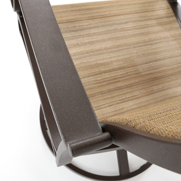 Sunvilla Riva aluminum sling dining chair with a Chestnut powder coat finish