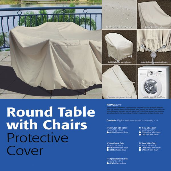"""Treasure Garden 54"""" round table & chairs cover"""