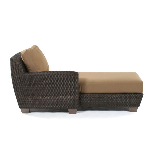 Saddleback Wicker Left Arm Face Chaise Lounge Sectional Side View