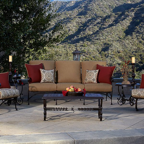 OW Lee San Cristobal Wrought Iron Outdoor Deep Seating With Side Tables