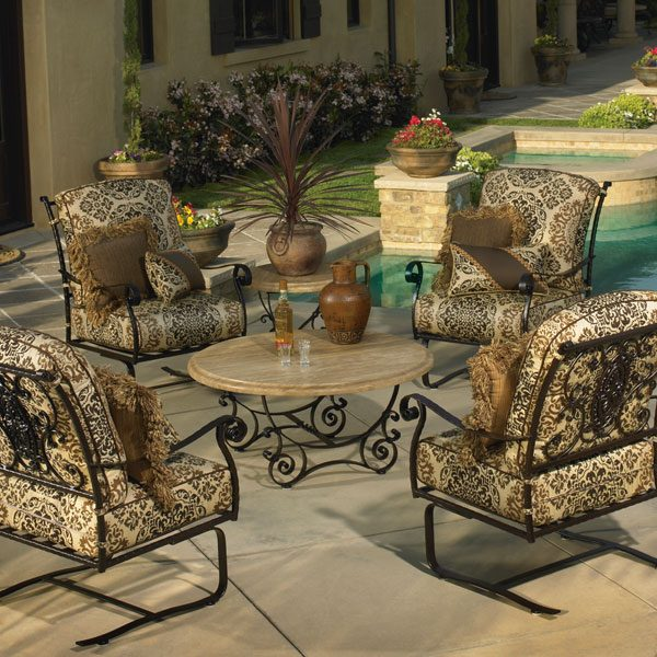 OW Lee San Cristobal Outdoor Wrought Iron Chat Group
