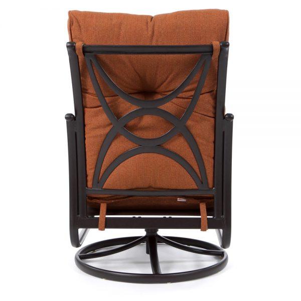 Alumont Santa Barbara patio swivel rocker club chair back view