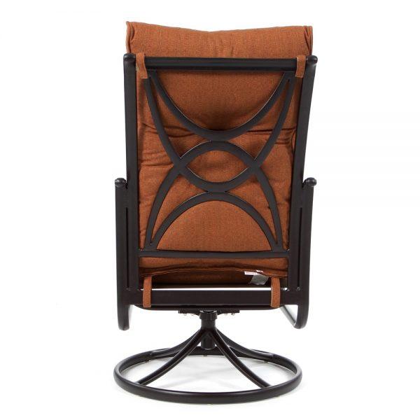 Alumont Santa Barbara swivel rocker dining chair back view