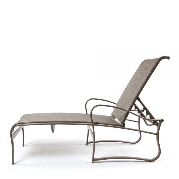 Aluminum sling patio chaise lounge side view