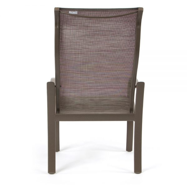 Shoreline sling aluminum patio dining chair back view